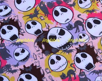 "W135B  - Vinyl Waterproof Fabric - Skull and cat - Light pink  -  27""x19""(70cmX50cm)"