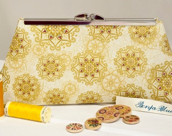 Clutch Bag - Purse - Hand Bag - Evening Bag - Toiletry Bag - Handmade bag featuring gorgeous golden fabric with metallic accents