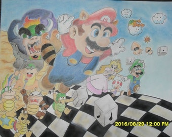 Super Mario Brothers Drawing - Pastel - Pencil - Charcoal - Nintendo - Kid's Decor - Home Decor