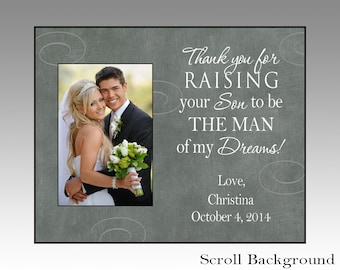 Thank you for raising your son, parent wedding gift, personalized wedding picture frame for parents, wedding frame, mother-in-law gift