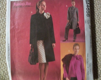 McCall M4656 Misses/Miss Petite  Size FF 16-18-20-22 unlined jacket in two lengths, top, bias skirt, pants and flower