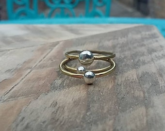 Silver and brass stacking rings (set of 3), silver rings, brass rings, stack rings, boho rings, 7th wedding anniversary