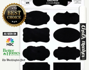 SALE - Chalkboard Labels Bundle, 40 Premium Chalkboard Stickers for Jars, Bottles, Containers + (1) Chalk ink Marker Included