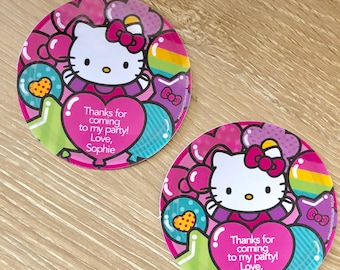 Hello Kitty Birthday Party Stickers, Printed personalized stickers. Hello Kitty party favor Stickers, Birthday Party - Set of 12