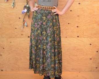 Vintage 80's Floral Medallion Asian Print Button Up Skirt A-line Maxi Skirt Green & Yellow SZ S/M