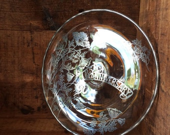 VINTAGE DECOR...glass bowl-25th anniversary-silverplated floral-wedding gift