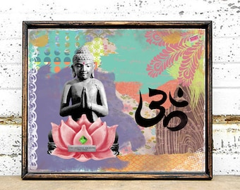 Buddha Lotus Art Print - Inspirational Poster - Mixed Media Collage - Colorful Art