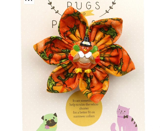 Autumn Dog Bow -Pilgrim Turkey on Pumpkins - Flower - Collar Blossom - Medium Size