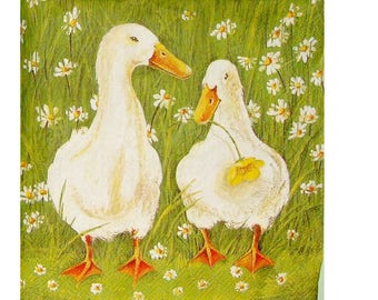 Set of 3 napkins ANI051 geese in grass