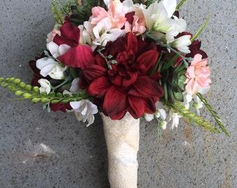 Red Dahilia, White Freesia, Peach Delphinium and Green Succulent Lace-Wrapped Bridal Bouquet