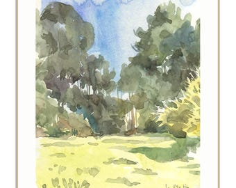 Landscape watercolor - PRINT of trees watercolor painting - green pleinair landscape of pine tree forest by Catalina