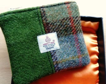 Harris Tweed Coin Purse in Presentation Box, Green Barley Corn and McCloud Check