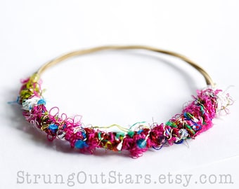 Wild Thing - Strung-Out guitar string bangle with silk yarn and crystals
