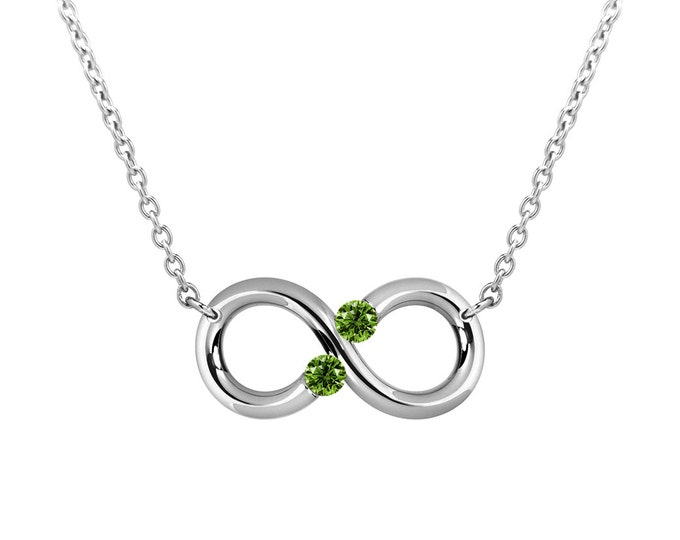 Taormina Infinity Necklace with Peridot Tension Set Steel Stainless