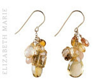 """Mixed Quartz Dangle Earrings With Citrine and Pink Moonstone Clusters on 14k Gold Filled French Earwire, 1.75"""""""