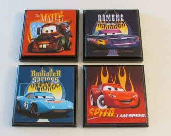 Cars Room Wall Plaques - Set of 4 Cars Boys Room Decor - Cars Wall Signs - Set #1 - Lightning McQueen Tow Mater Ramone