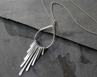 Falling Rain Sterling Silver Necklace, Fringe Pendant, Teardrop, Raindrop, Solid Sterling Silver Chain, Geometric Minimalist, Asymetrical
