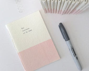 personalised pink small Pocket Notebook- handstitched notebook, blue, green, yellow, pink, small gift, stocking filler