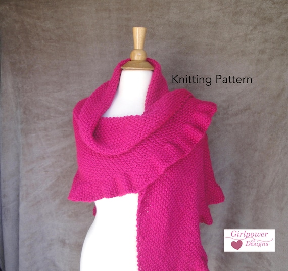 Ruffle Edge Shawl Knitting Pattern, Easy Knit Shawl, Worsted Aran ...