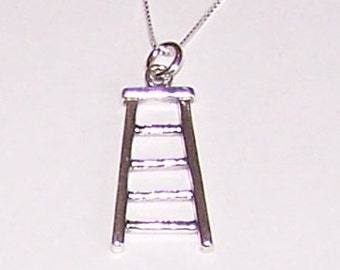 Sterling Silver 3D LADDER Pendant  and Chain - Profession, Builder, Painter