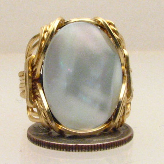 Handmade 14kt Gold Filled Wire Wrapped Mother of Pearl Ring