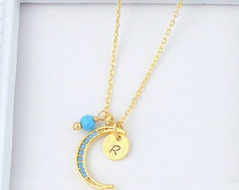 Crescent Moon Necklace, Initial Necklace, Gold Moon Personalized Necklace, Turquoise Moon Necklace, December Birthstone Necklace