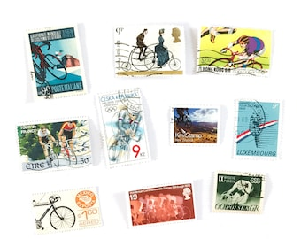 10 x Cycling postage stamps - from 9 countries, used, off paper, all different - Bike Bicycle Cycle - for collecting, paper craft
