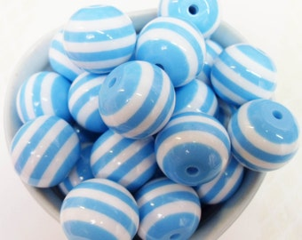 10x BLUE Massive 20mm Stripe Resin Juicy Globe beads