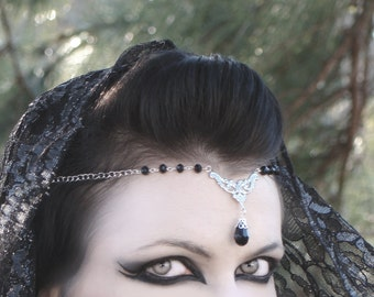 Black Beaded Circlet / Gothic Goth Headdress Elven Pagan Wiccan Crown ~ Color Options Now Available