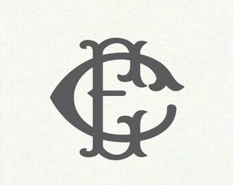 Interlocking Monogram Dinner Napkins, Monogrammed, Custom, Modern, Guest Towel, Vertical Napkin, Entwined Monogram, Wedding Monogram