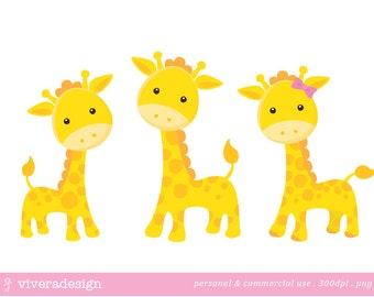 Yellow Giraffe Digital Clip Art - with a Pink and a Blue Bow