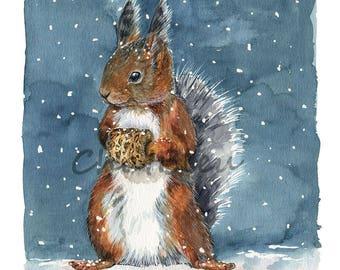 Winter Squirrel Art  :  L'Ecureuil  -  Watercolor Archival Print A4 - Nursery Art  - N3