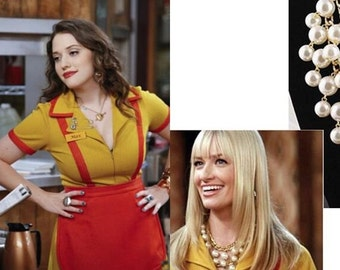 2 Broke Girls Necklace Pendants Max Caroline Pearl Gold Kat Dennings cult tv show
