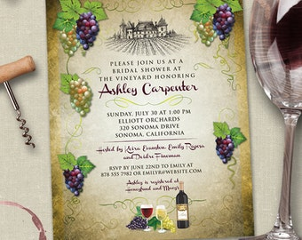 Vineyard Wine and Grapes Bridal Wedding Shower Invitation; Printable, Evite or Printed (US Only) Invitation