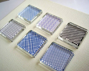 Set of 6 Security Pattern Glass Tile Magnets Super Strong Made to Order
