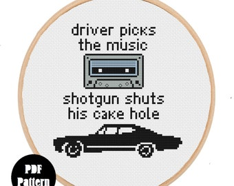 Supernatural Driver Picks The Music Quote Modern Cross Stitch Pattern PDF INSTANT DOWNLOAD