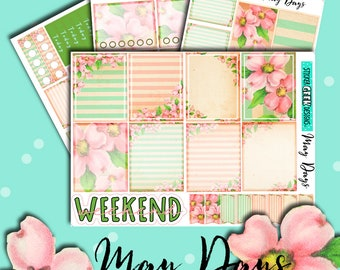 Flower Stickers | Planner Stickers | Vintage Floral Stickers | May Days Mini Kit | Weekly Planner Sticker Kit