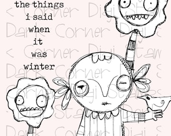Elenora Lynch - quirky creepy cute gal zombie with bird and flowers - digi stamp set
