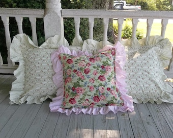 Set Ruffled Pillow Shams Pink Floral Pillows Ruffled Bed Pillows Handmade Decorative Pillows Cottage Chic Porch Pillows READY to SHIP