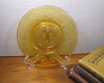 Deep Yellow Pressed Glass Dessert Plate - Flowers and Scrolls