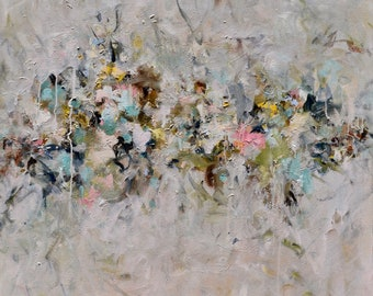 Large Abstract Painting Flower Painting Blossoms  gray blush pink blue 30 x 30 Softly Spoken
