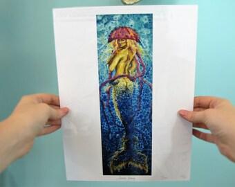 Fantasy Jellyfish Mermaid Art Print - Sirene