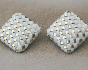 Woven Checkerboard Earrings Vintage