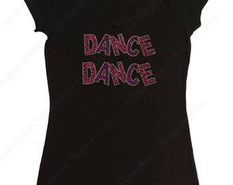 "Women's Rhinestud T-Shirt "" Dance Dance "" in S, M, L, 1X, 2X, 3X"