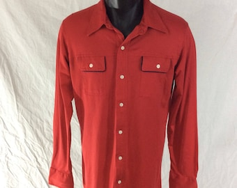 Vintage 1980s// Bright Red Button Up// Long Sleeves// Western Style// By Kings Road, Sears The Mens Store// L