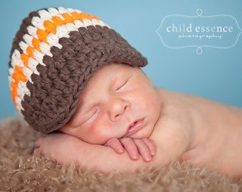 Baby Boy Hat 0 to 3 Month Brown Baby Hat Ecru Orange Baby Boy Clothes Baby Boy Gift Baby Boy Cap Photo Prop Photography Prop Hospital Hat
