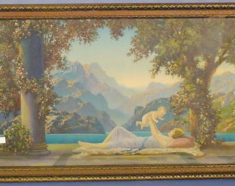 Vintage Lithograph in Original Art Deco Frame, Love's Paradise, R. Atkinson Fox, ca 1920s