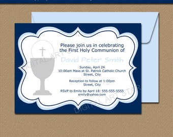 1st Communion Invitations Instant Download, 1st Holy Communion Invitations Printable, EDITABLE Invitation, Boy First Communion Template FC1