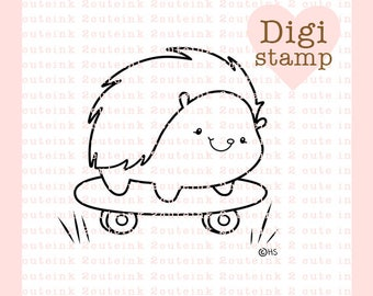 Skateboard Hedgie Digital Stamp - Hedgehog Digital Stamp - Summer Stamp - Hedgehog Art - Hedgehog Craft Supply