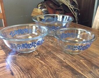 Pyrex Blue Ribbon 3 Bowl Set, Pyrex Glass Blue Floral 3 Bowl Set, Nesting Bowls